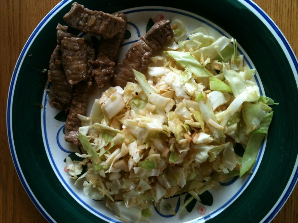 Carne Asada with Stir Fried Cabbage